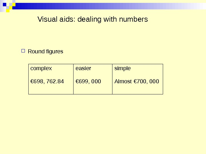 Visual aids: dealing with numbers Round figures complex  easier  simple  € 698, 762.