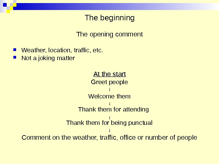 The beginning The opening comment Weather, location, traffic, etc.  Not a joking matter At the
