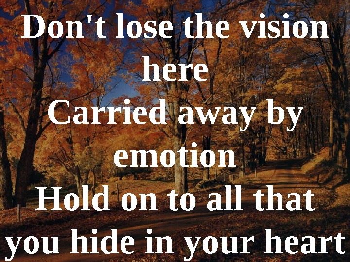 Don't lose the vision here Carried away by emotion Hold on to all that