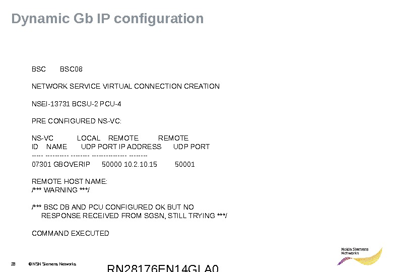 RN 28176 EN 14 GLA 028 © NSN Siemens Networks. Dynamic Gb IP configuration BSC 08