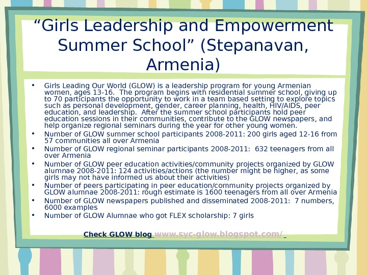 """ Girls Leadership and Empowerment Summer School"" (Stepanavan,  Armenia) • Girls Leading Our World (GLOW)"