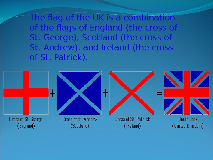 The flag of the UK is a combination of the flags of England (the cross of