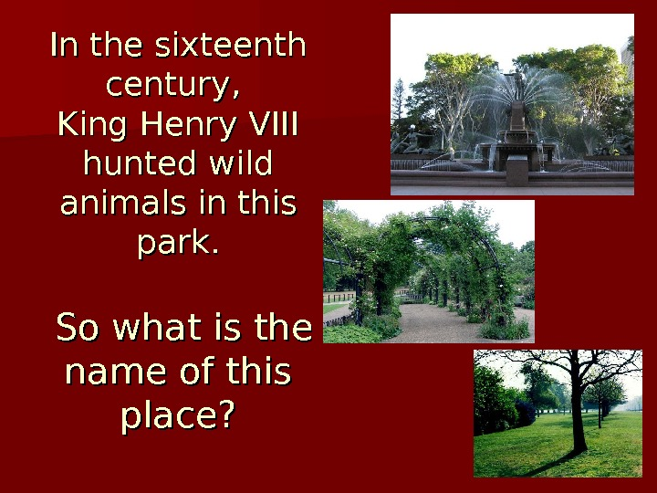 In the sixteenth century,  King Henry VIII hunted wild animals in this park.  So