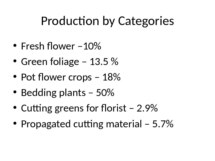 Production by Categories • Fresh flower – 10 • Green foliage – 13. 5  •