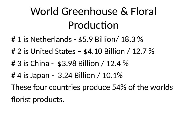 World Greenhouse & Floral Production # 1 is Netherlands - $5. 9 Billion/ 18. 3