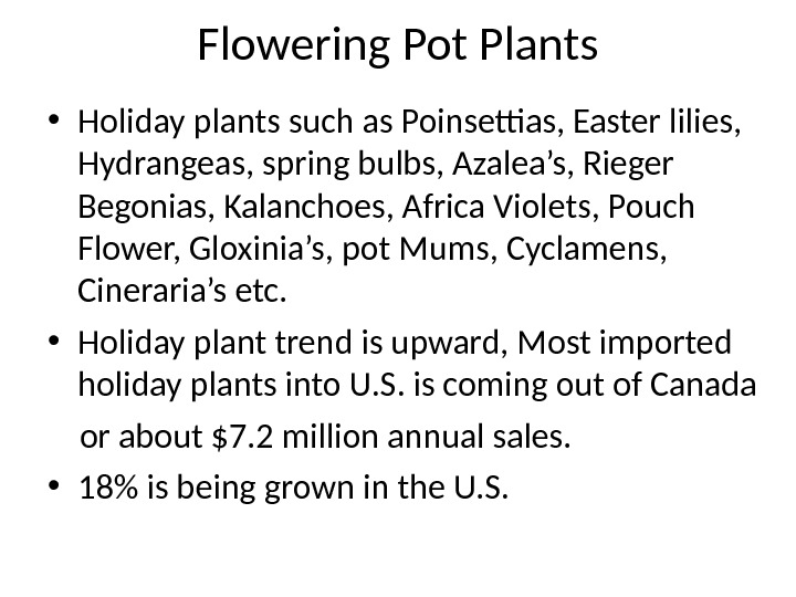 Flowering Pot Plants • Holiday plants such as Poinsettias, Easter lilies,  Hydrangeas, spring bulbs, Azalea's,