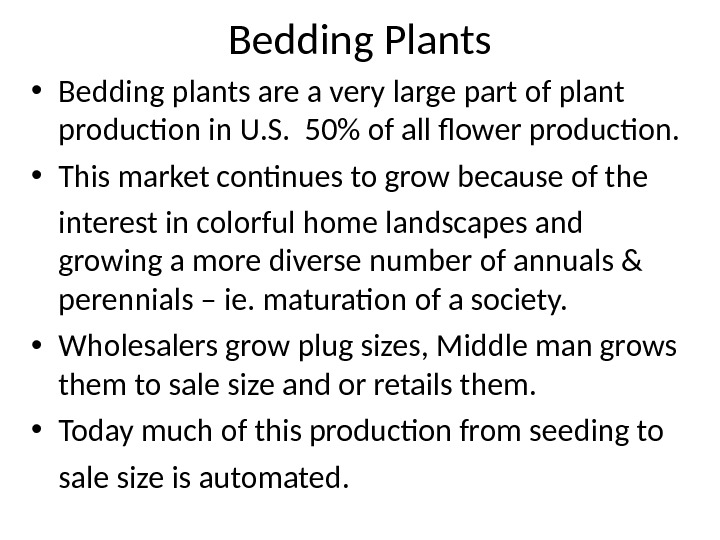 Bedding Plants • Bedding plants are a very large part of plant production in U. S.