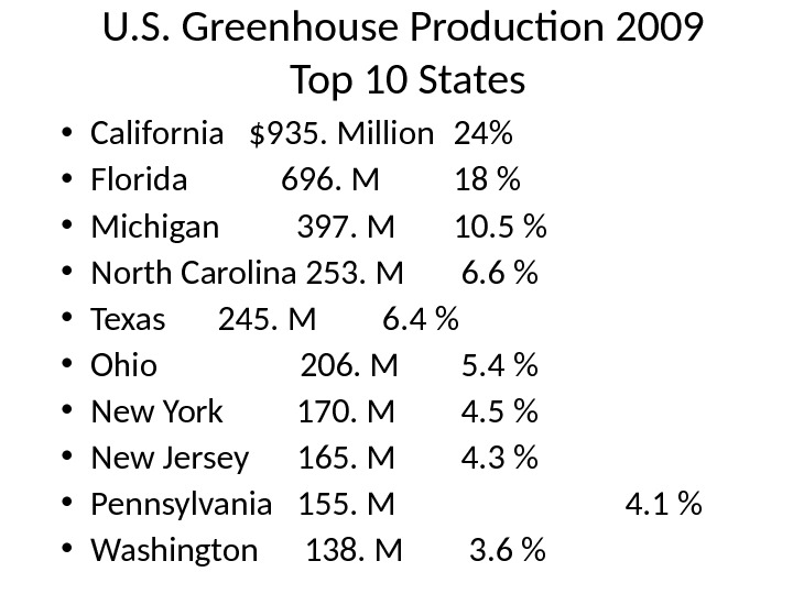 U. S. Greenhouse Production 2009 Top 10 States • California  $935. Million 24 • Florida
