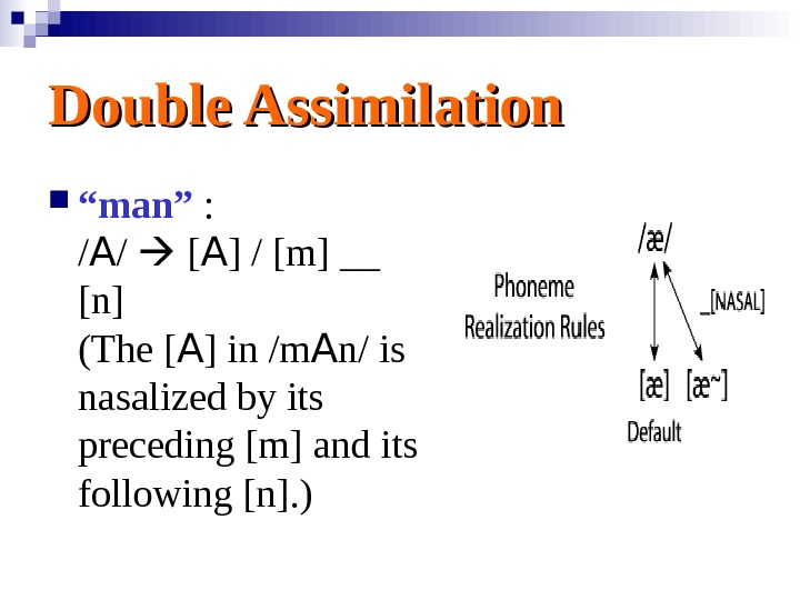 "Double Assimilation "" man"" : / A /  [ A ] / [m]"