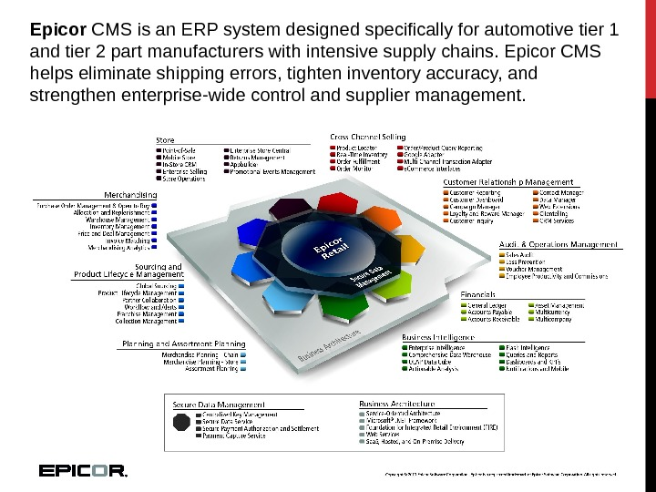 Epicor CMS is an ERP system designed specifically for automotive tier 1 and tier 2 part