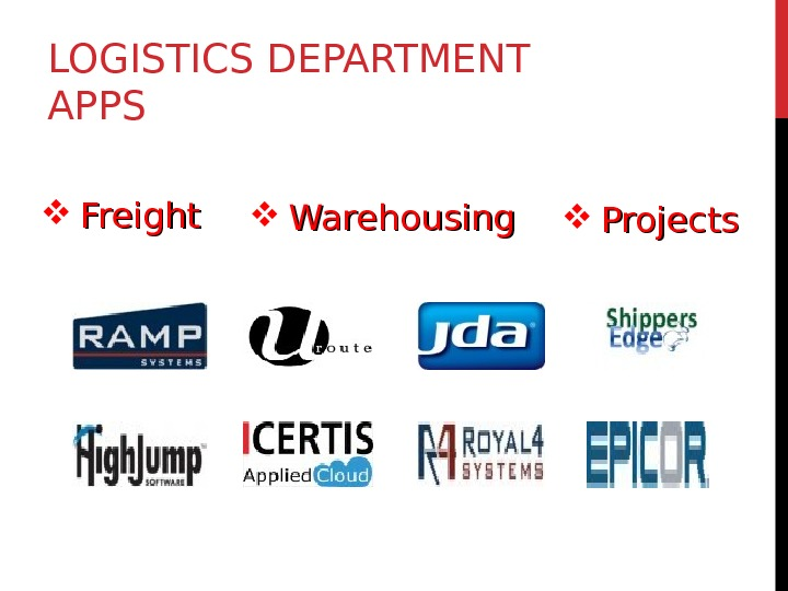 LOGISTICS DEPARTMENT APPS Freight Warehousing Projects