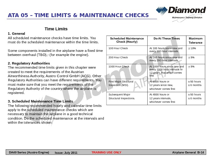TRAINING USE ONLYATA 05 – TIME LIMITS & MAINTENANCE CHECKS Airplane General B-14 Scheduled Maintenance Check