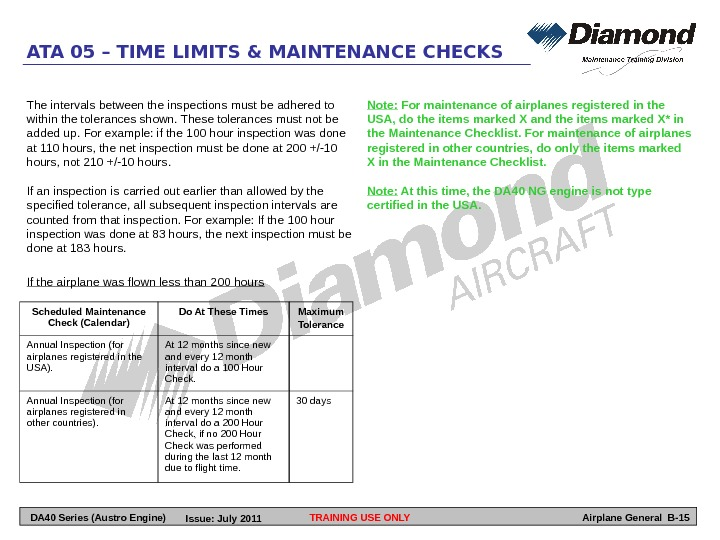 TRAINING USE ONLYATA 05 – TIME LIMITS & MAINTENANCE CHECKS Airplane General B-15 Scheduled Maintenance Check