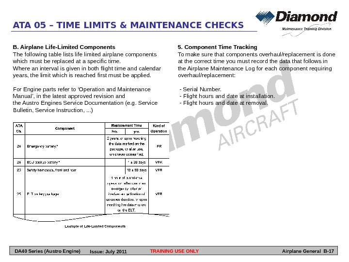 TRAINING USE ONLYATA 05 – TIME LIMITS & MAINTENANCE CHECKS Airplane General B-175. Component Time Tracking