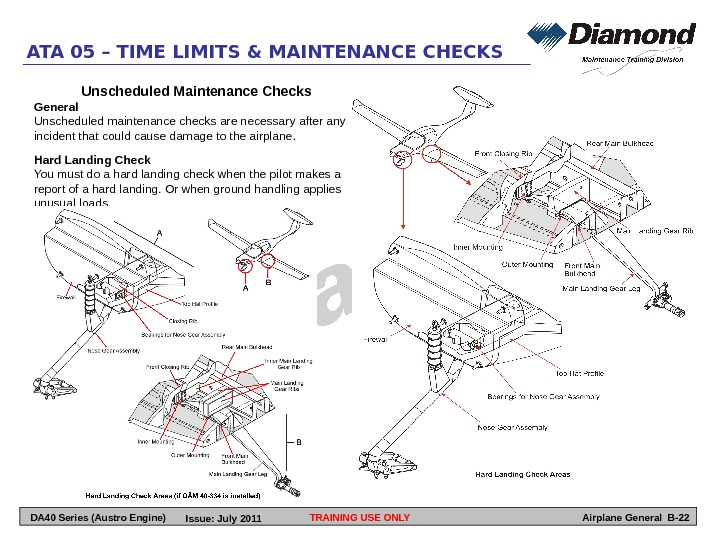 TRAINING USE ONLYATA 05 – TIME LIMITS & MAINTENANCE CHECKS Airplane General B-22 Unscheduled Maintenance Checks