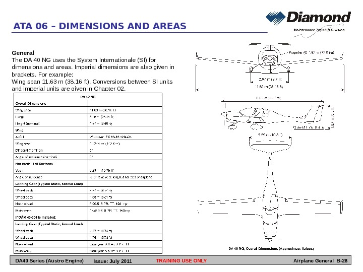 TRAINING USE ONLYATA 06 – DIMENSIONS AND AREAS Airplane General B-28 General The DA 40 NG