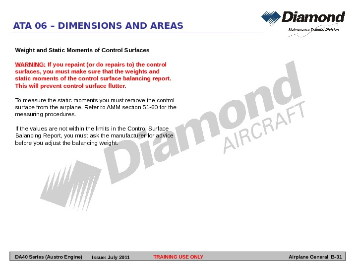 TRAINING USE ONLYATA 06 – DIMENSIONS AND AREAS Airplane General B-31 Weight and Static Moments of