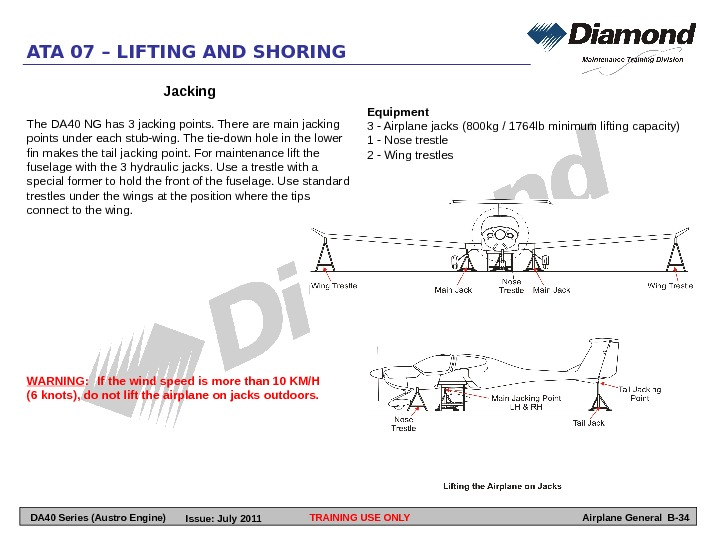 TRAINING USE ONLYATA 07 – LIFTING AND SHORING Airplane General B-34 WARNING : If the wind