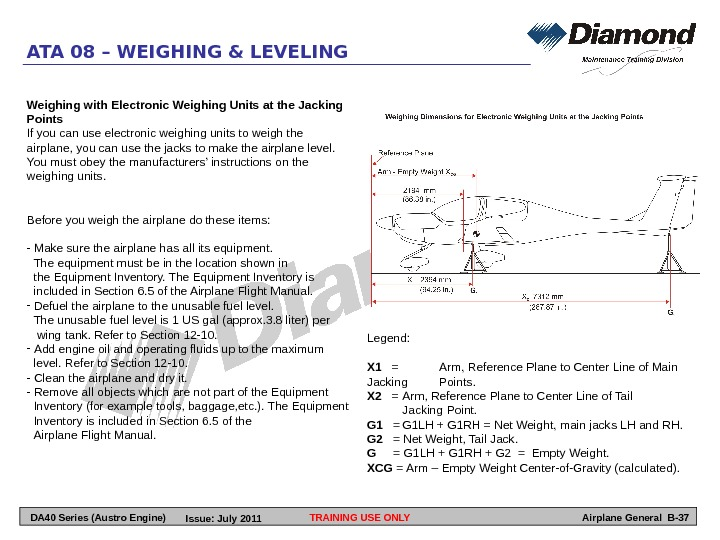 TRAINING USE ONLY Airplane General B-37 ATA 08 – WEIGHING & LEVELING Weighing with Electronic Weighing