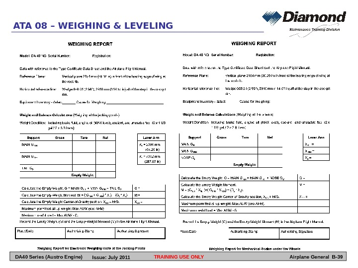 TRAINING USE ONLY Airplane General B-39 ATA 08 – WEIGHING & LEVELING DA 40 Series (Austro