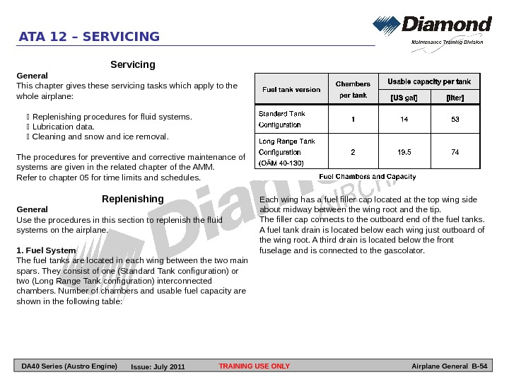 TRAINING USE ONLYATA 12 – SERVICING Airplane General B-54 Servicing General This chapter gives these servicing
