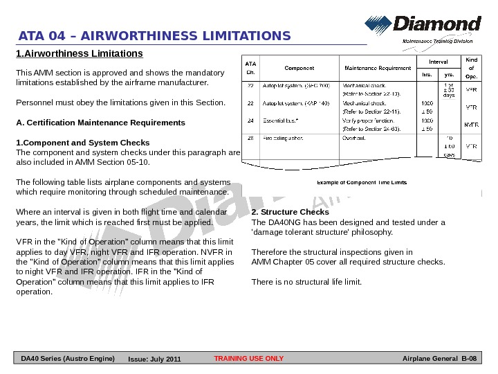 TRAINING USE ONLYATA 04 – AIRWORTHINESS LIMITATIONS Airplane General B-081. Airworthiness Limitations This AMM section is