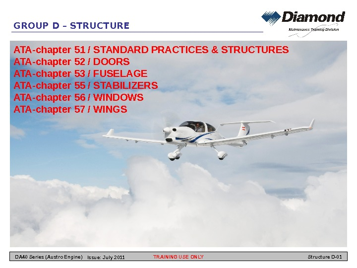 GROUP D – STRUCTURE ATA-chapter 51 / STANDARD PRACTICES & STRUCTURES ATA-chapter 52 / DOORS ATA-chapter