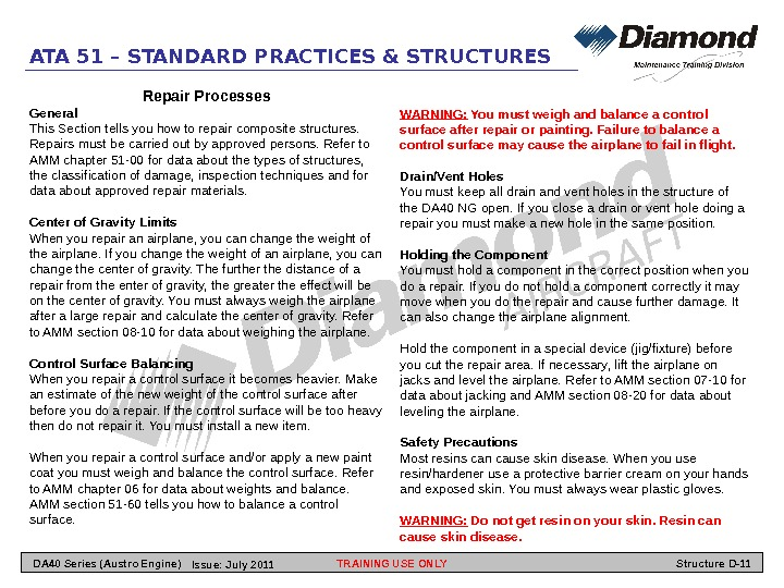 ATA 51 – STANDARD PRACTICES & STRUCTURES Repair Processes General This Section tells you how to