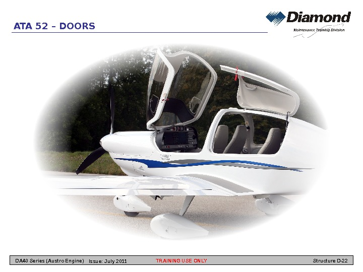 ATA 52 – DOORS TRAINING USE ONLY Structure D-22 DA 40 Series (Austro Engine) Issue: July