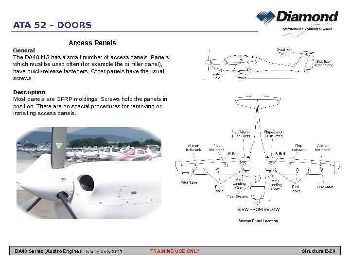 ATA 52 – DOORS Access Panels General The DA 40 NG has a small number of