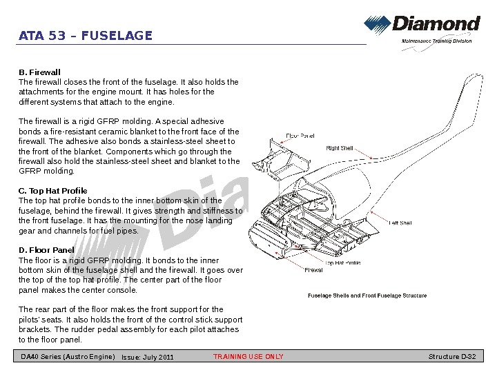 ATA 53 – FUSELAGE B. Firewall The firewall closes the front of the fuselage. It also