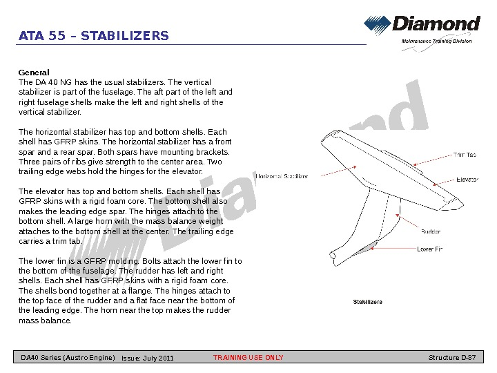 ATA 55 – STABILIZERS General The DA 40 NG has the usual stabilizers. The vertical stabilizer