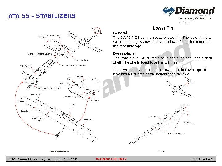 ATA 55 – STABILIZERS Lower Fin General The DA 40 NG has a removable lower fin.