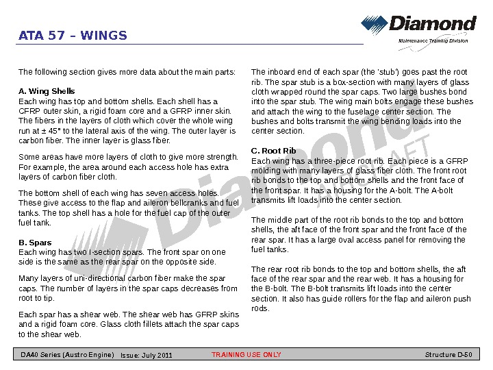 ATA 57 – WINGS The following section gives more data about the main parts: A.