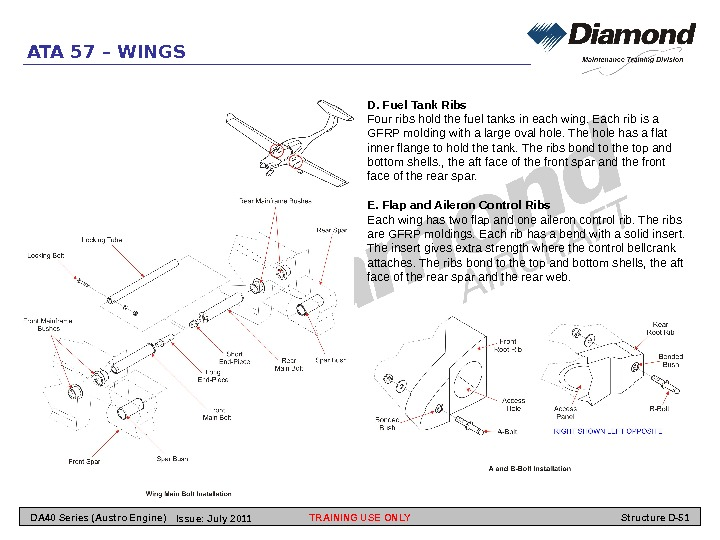ATA 57 – WINGS D. Fuel Tank Ribs Four ribs hold the fuel tanks in each