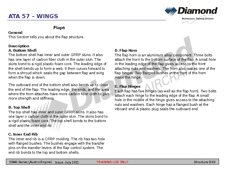 ATA 57 – WINGS Flaps General This Section tells you about the flap structure.  Description