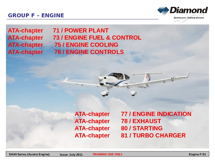 GROUP F – ENGINE ATA-chapter 71 / POWER PLANT ATA-chapter 73 / ENGINE FUEL & CONTROL