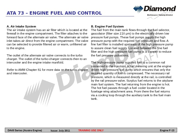 ATA 73 – ENGINE FUEL AND CONTROL A. Air Intake System The air intake system has