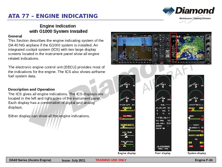 ATA 77 – ENGINE INDICATING Engine Indication with G 1000 System Installed General This Section describes