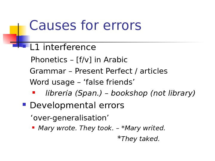 Causes for errors L 1 interference Phonetics – [f/v] in Arabic Grammar – Present Perfect /
