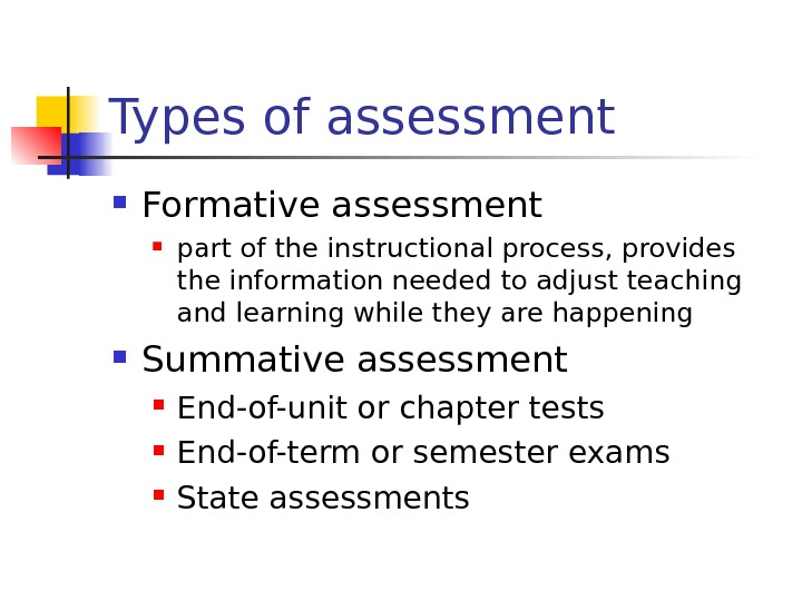 Types of assessment Formative assessment part of the instructional process, provides the information needed to adjust