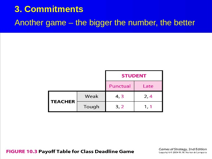 3. Commitments Another game – the bigger the number, the better