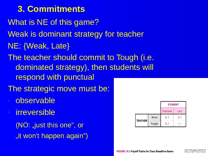 3. Commitments What is NE of this game?  Weak is dominant strategy for teacher NE: