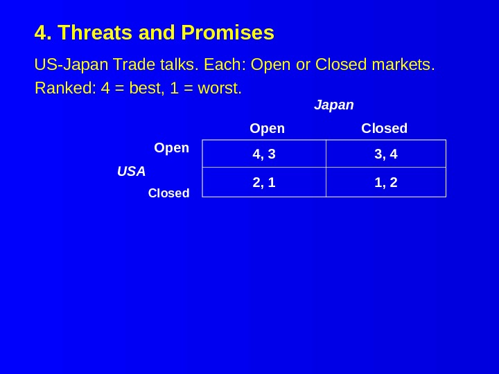4. Threats and Promises US-Japan Trade talks. Each: Open or Closed markets. Ranked: 4 = best,