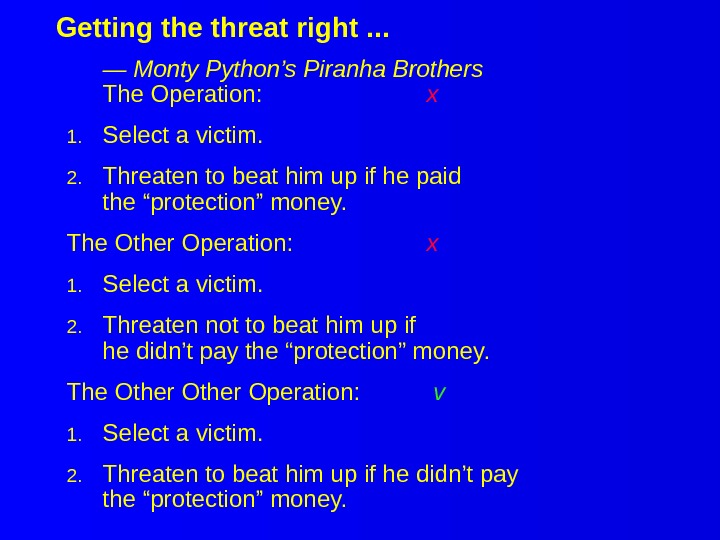 Getting the threat right. . . — Monty Python's Piranha Brothers The Operation: x 1. Select