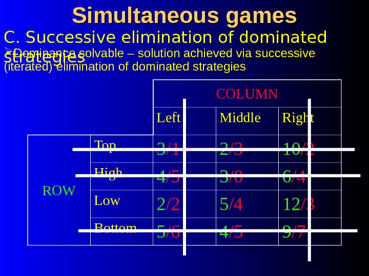 Simultaneous games COLUMN Left Middle Right ROW Top 3 /1 2 /3 10 /2 High 4