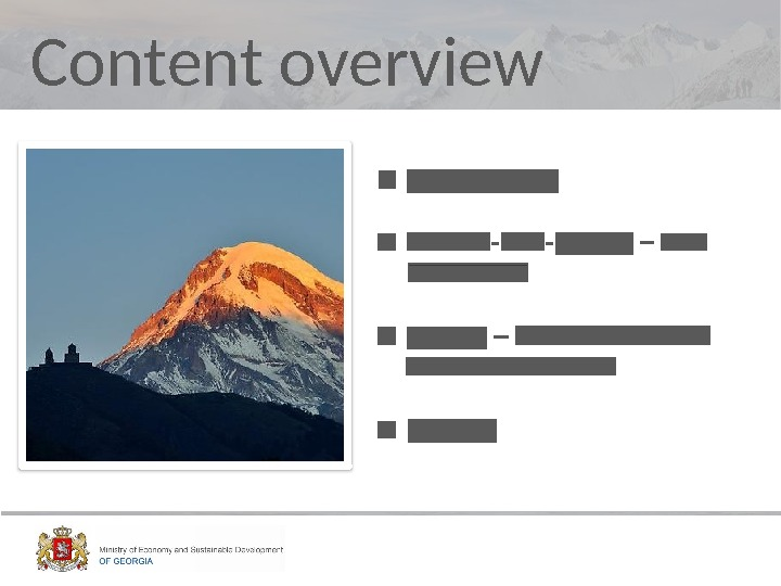 Content overview