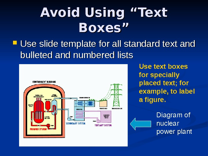 "Avoid Using ""Text Boxes"" Use slide template for all standard text and bulleted and"