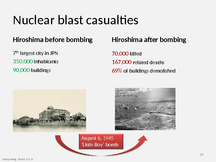 Nuclear blast casualties Hiroshima before bombing 7 th  largest city in JPN 350, 000