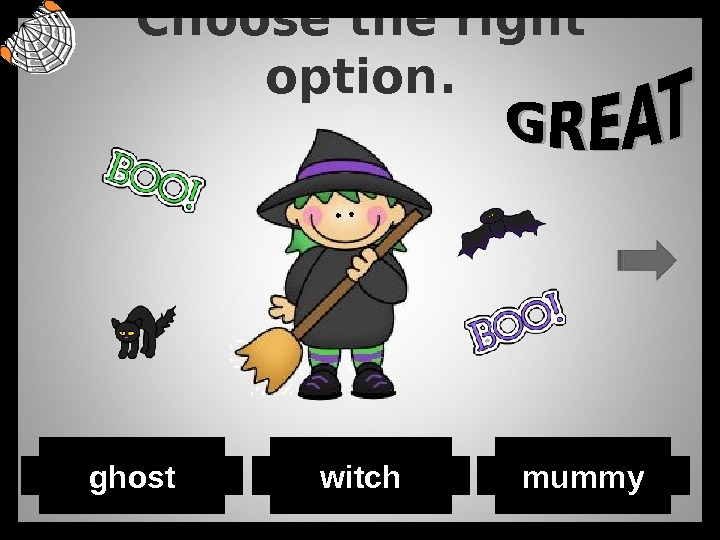 Choose the right option. ghost witch mummy